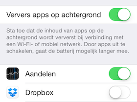 ververs apps achtergrond