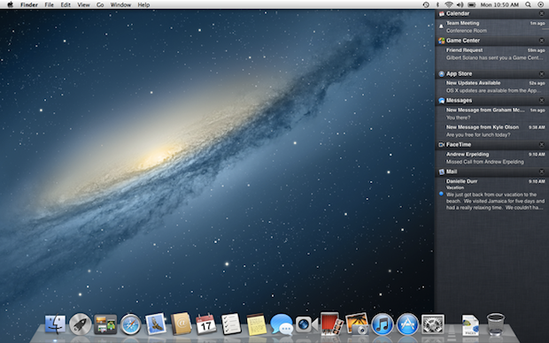 macosx mountain lion notification center